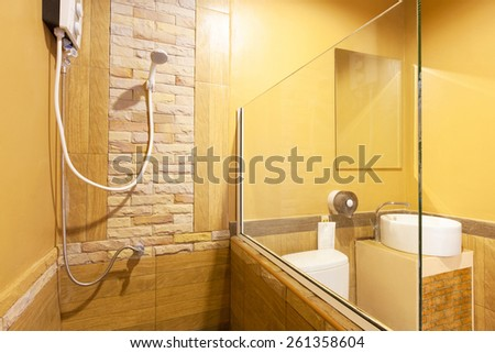 Toilet and bathroom in Banana Garden Beach, Koh Lanta, Krabi, Thailand. - stock photo