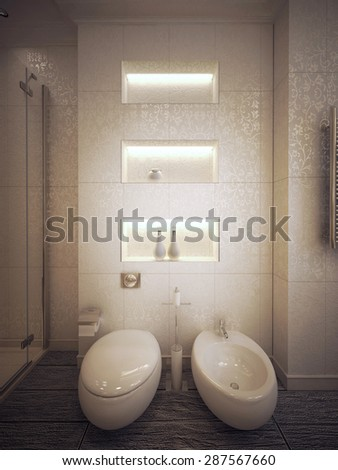 toilet and bidet in modern style. 3d visualization