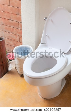 toilet and bin at outdoor,wc