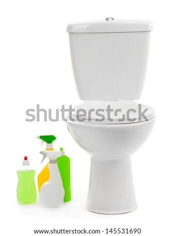 Toilet bowl and  cleaning supplies, isolated on white - stock photo