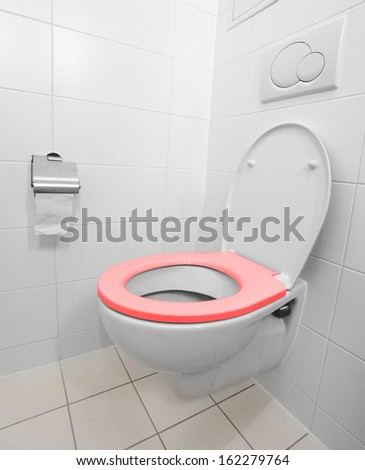 Toilet bowl in a modern bathroom.  - stock photo
