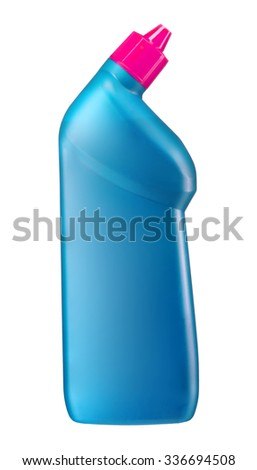 Toilet cleaner bottle with pink cap / studio photography of cyan plastic bottle - isolated on white background - stock photo