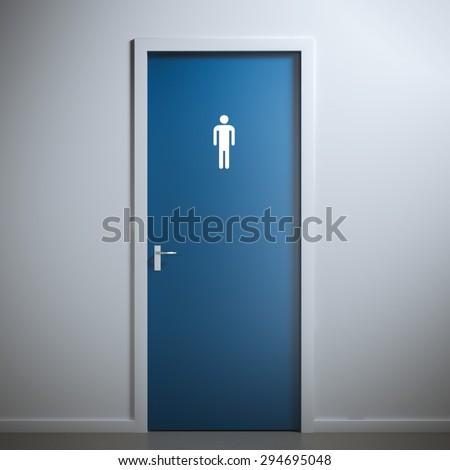Toilet Door For Male Gender 3d Rendering