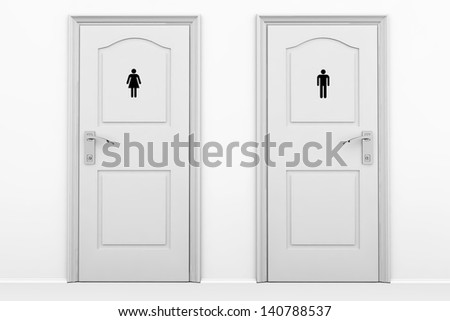 Toilet Doors For Male And Female Genders In Grey Key