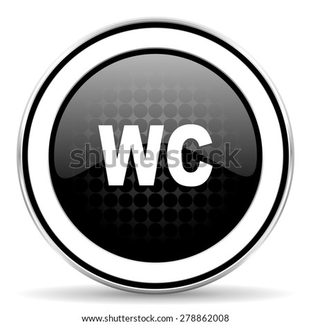 toilet icon, black chrome button, wc sign  - stock photo