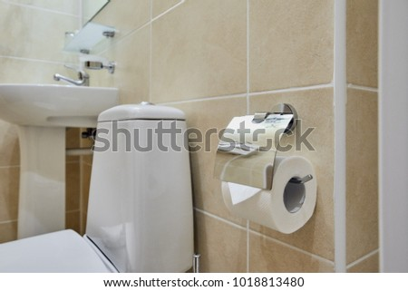 Toilet in modern bathroom