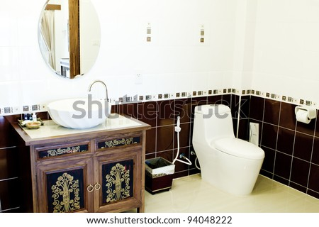 Toilet in the bathroom - stock photo