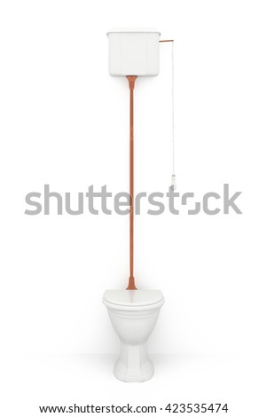 Toilet isolated on white background. Include clipping path. 3d illustration