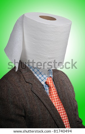 Toilet paper head man, with a tweed coat and an orange tie over a green background - stock photo