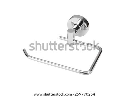 Toilet paper holder, isolated on white background - stock photo