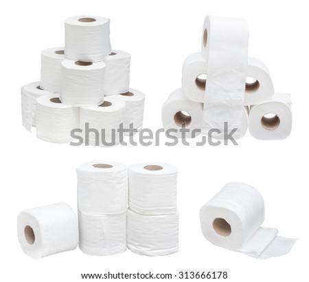toilet paper isolated - stock photo