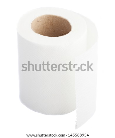 toilet paper isolated on a white background - stock photo