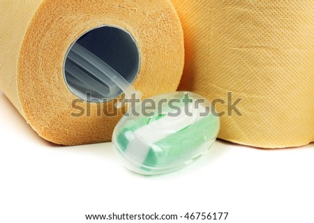 Toilet paper, isolated on a white background - stock photo