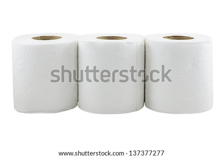 Toilet paper isolated on a white background with clipping path