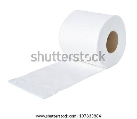 toilet paper on white background - stock photo