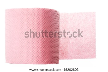 toilet paper, paper towel on white background - stock photo