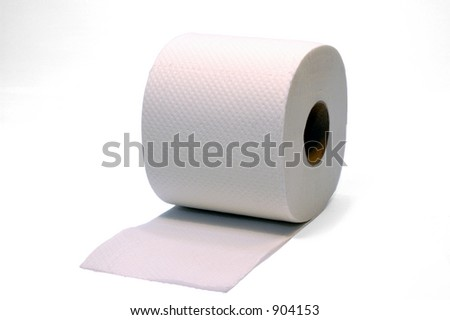 Toilet paper photographed over white.  A daily hygiene object.