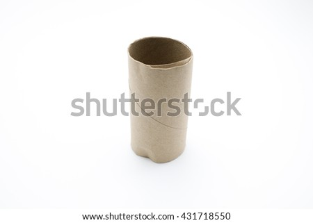 toilet paper roll empty on a white background