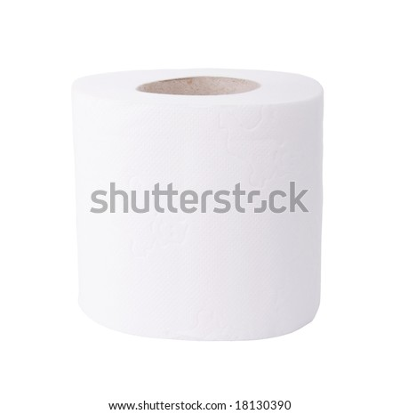 Toilet paper roll isolated on white background - stock photo