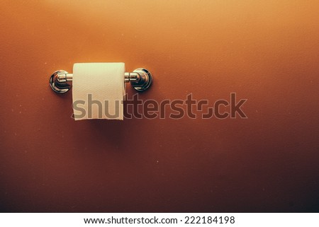 Toilet Paper Roll on Wall 1. Toilet paper roll on wall of rustic looking bathroom. - stock photo
