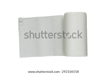 toilet paper roll on white isolate with clipping path for decorate project. - stock photo