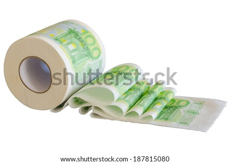 Toilet paper roll with European Union currency banknotes isolated - stock photo