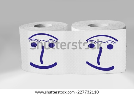 Toilet paper rolls with face - stock photo