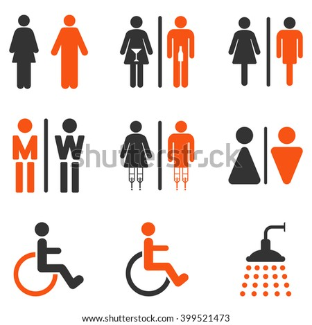 Toilet Persons glyph icon set. Style is bicolor orange and gray flat symbols isolated on a white background.