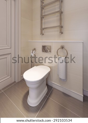 Toilet room in a classical style. in beige tones. 3D render.