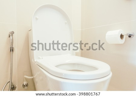Toilet seat decoration in bathroom interior - Vintage Light Filter