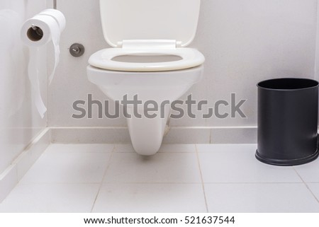 Toilet seat decoration in bathroom interior  White toilet bowl  A roll of  white toilet. Toilet Stock Images  Royalty Free Images   Vectors   Shutterstock