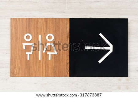 Toilet signs on wall
