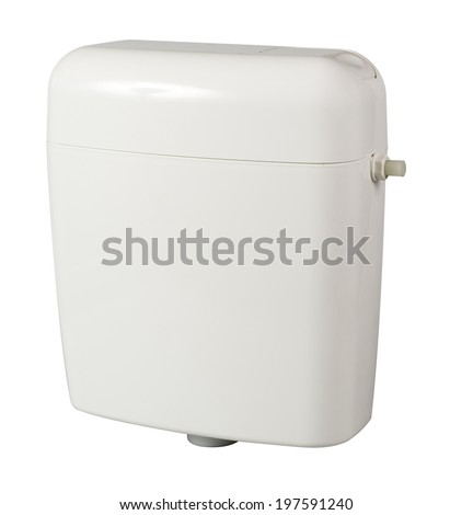 Toilet water tank isolated on white background with clipping path - stock photo