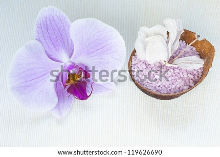 toiletries and pink orchid - stock photo