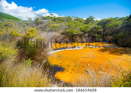 Tokaanu thermal park geothermal area in  New Zealand - stock photo