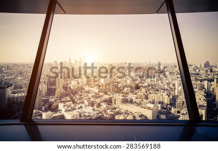 tokyo aerial view from observatory. concept about japan,travel and buildings - stock photo