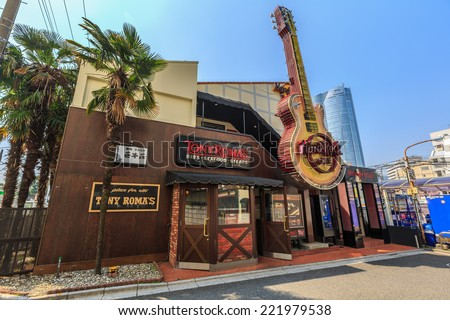 TOKYO - APR 10: Hard Rock Cafe at Roppingi on Apr 10, 2014 in Roppingi, Tokyo.It is a chain of theme restaurants founded in 1971 by Americans Isaac Tigrett and Peter Morton in London. - stock photo