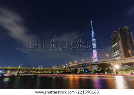 TOKYO - APRIL 10: Tokyo  Skytree Tower at twilight on April 10, 2014 in Tokyo. It is the second tallest structure in the world, 634m tall, opened 2012 - stock photo