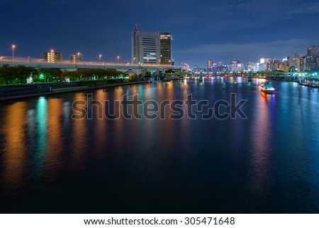 Tokyo Asakusa night view (The view from a Sumida River)