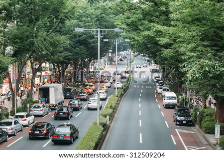 TOKYO - AUG 1: Busy street at Harajuku on August 1, 2015. Harajuku is known internationally as a center of Japanese youth culture and fashion. - stock photo