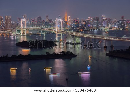 Tokyo Bay at Rainbow Bridge, Japan