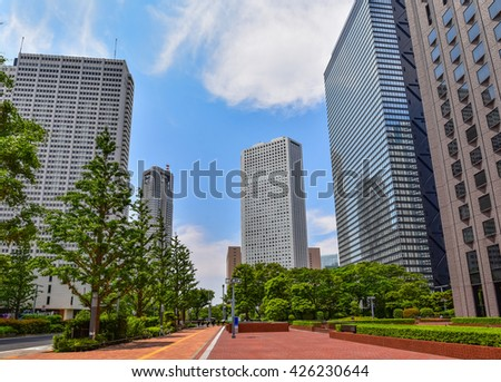 Tokyo business district image at daytime - stock photo