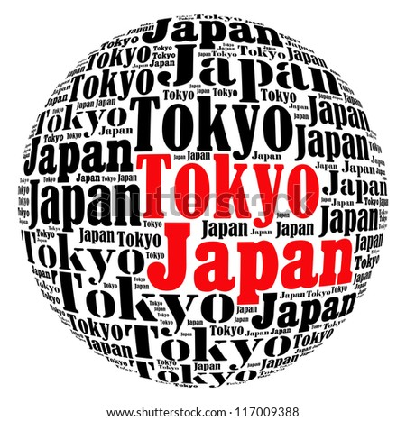 Tokyo capital city of Japan info-text graphics and arrangement concept on white background (word cloud) - stock photo