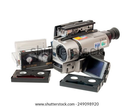 TOKYO- CIRCA 2015-Sony ends to manufacture hardware 8mm in 2011 It does not stop the production of cassettes: you will still be in production for an indefinite period circa 2015 in Tokyo - stock photo