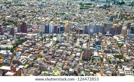 Tokyo, city aerial panoramic view of buildings and street in Shinjuku residential district. Japan, Asia