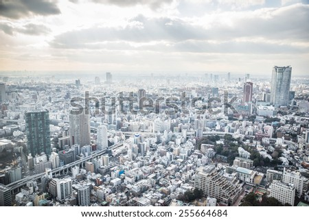 Tokyo city from aerial view. concept about landmarks. - stock photo