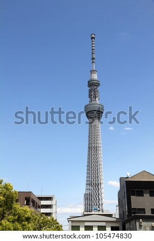 TOKYO CITY, JAPAN - MAY 12: Tokyo Skytree Tower is the tallest free-standing broadcasting tower on May 12, 2012 in Tokyo, Japan. The tower opened to the public on May 22 2012. - stock photo
