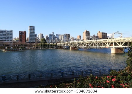 Tokyo city landscape Sumidagawa river and Tofu railway in December 2016