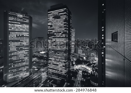 Tokyo City - Shinjuku district at night - future city - stock photo
