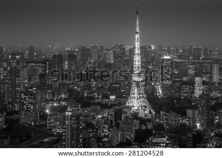Tokyo City Skyline at Night with Tokyo Tower in Black and White